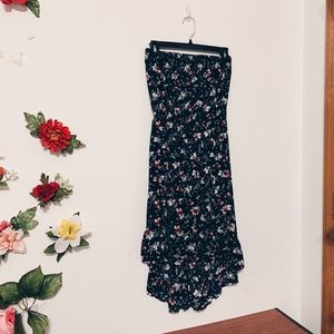 Cotton On Strapless Dark Floral High-Low Dress